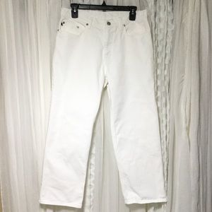 Vintage 90s Polo mom white cropped jeans